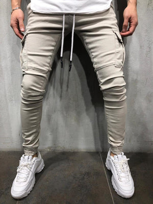 Beige Cargo Pocket Ultra Skinny Fit Jogger Denim 2Y-14758 Streetwear Jeans - Sneakerjeans