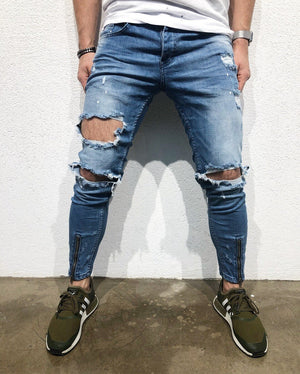 Blue Side Striped Destroyed Skinny Fit Denim B158 Streetwear Denim Jeans - Sneakerjeans