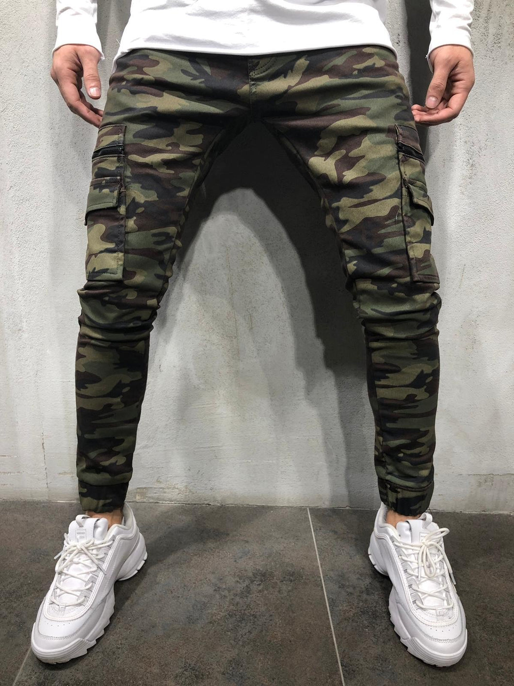 Camouflage Cargo Pocket Skinny Fit Jogger Denim A236 Streetwear Jogger Jeans