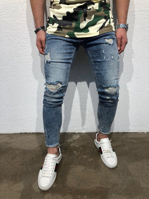 Blue Distressed Slim Fit Denim B95 Streetwear Denim Jeans - Sneakerjeans