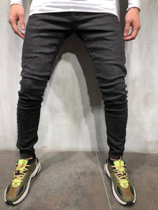 Black Skinny Fit Denim A219 Streetwear Jeans