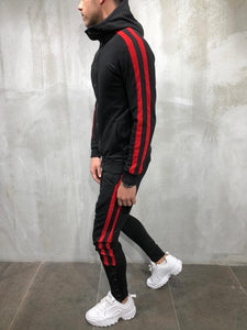 Black Red Collar Striped Tracksuit Gymwear Set A204 Streetwear Tracksuit Jogger Set