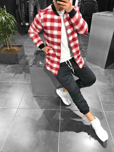 Red White Checkered Jacket KB147 Streetwear Shearling