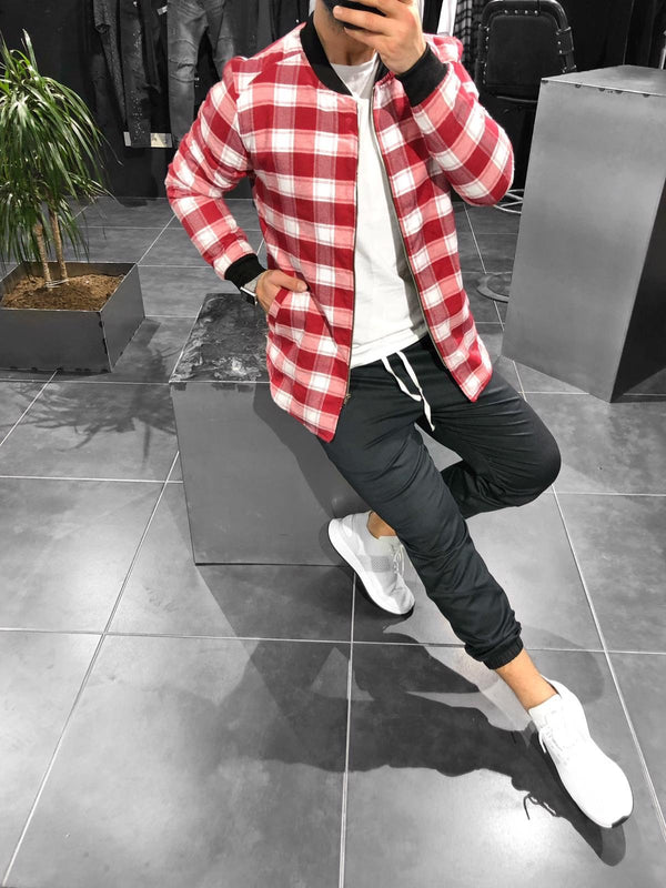 Red White Checkered Jacket KB147 Streetwear Shearling - Sneakerjeans