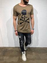 Load image into Gallery viewer, Brown Skull Printed T-Shirt B61 Streetwear T-Shirts