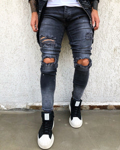 Washed Ripped Skinny Fit Denim B272 Streetwear Jeans - Sneakerjeans