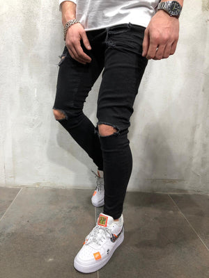 Black Ripped Ultra Skinny Fit Denim AY107 Streetwear Jeans - Sneakerjeans
