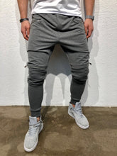 Load image into Gallery viewer, Gray Knee Zipper Jogger Pant B123 Streetwear Jogger Pants