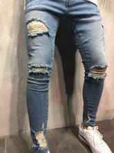 Load image into Gallery viewer, Blue Destroyed Slim Fit Denim A81 Streetwear Denim Jeans