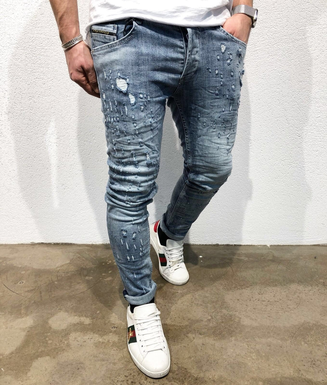 Blue Slim Fit Denim B63 Streetwear Denim Jeans - Sneakerjeans