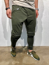 Load image into Gallery viewer, Khaki Knee Zipper Jogger Pant B123 Streetwear Jogger Pants