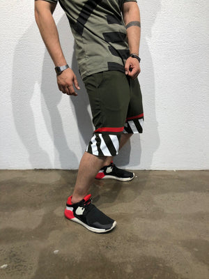 Khaki Striped Sweat Short B181 Streetwear Sweat Shorts - Sneakerjeans