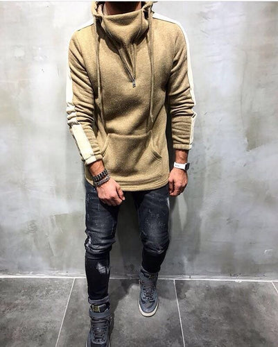 Beige Big Side Stripe Hoodie KA18028 Streetwear Sweatshirt