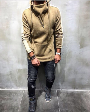 Beige Big Side Stripe Hoodie KA18028 Streetwear Sweatshirt - Sneakerjeans
