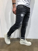 Load image into Gallery viewer, Black Destroyed Slim Fit Denim B59 Streetwear Denim Jeans - Sneakerjeans