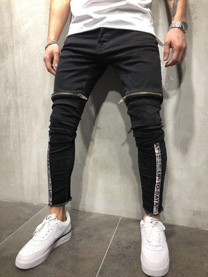 Black Front Zip Leg Side Stripe Slim Fit Denim A12 Streetwear Denim Jeans - Sneakerjeans