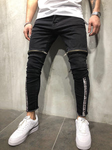 Black Front Zip Leg Side Stripe Slim Fit Denim A12 Streetwear Denim Jeans