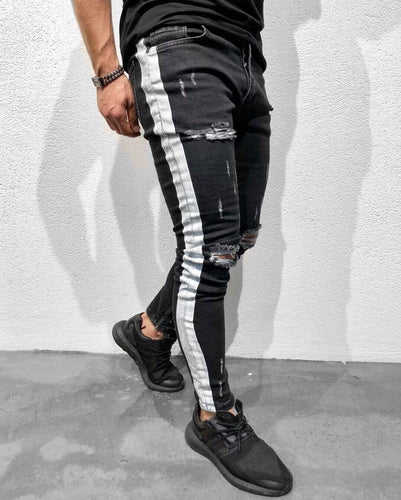 Black Striped Ankle Zipper Super Skinny Fit Denim B129 Streetwear Denim Jeans