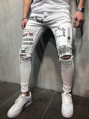 White Printed Slim Fit Denim A74 Streetwear Denim Jeans - Sneakerjeans
