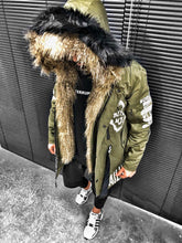 Load image into Gallery viewer, Khaki Printed Double Coloured Fur Oversize Jacket S193 Streetwear Oversize Jacket