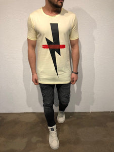 Yellow Printed Oversized T-Shirt B86 Streetwear T-Shirts - Sneakerjeans