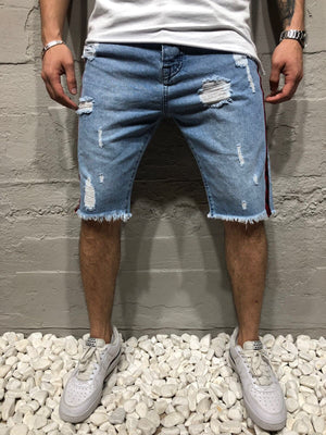 Blue Side Striped Slim Fit Denim Short A140 Streetwear Denim Shorts - Sneakerjeans