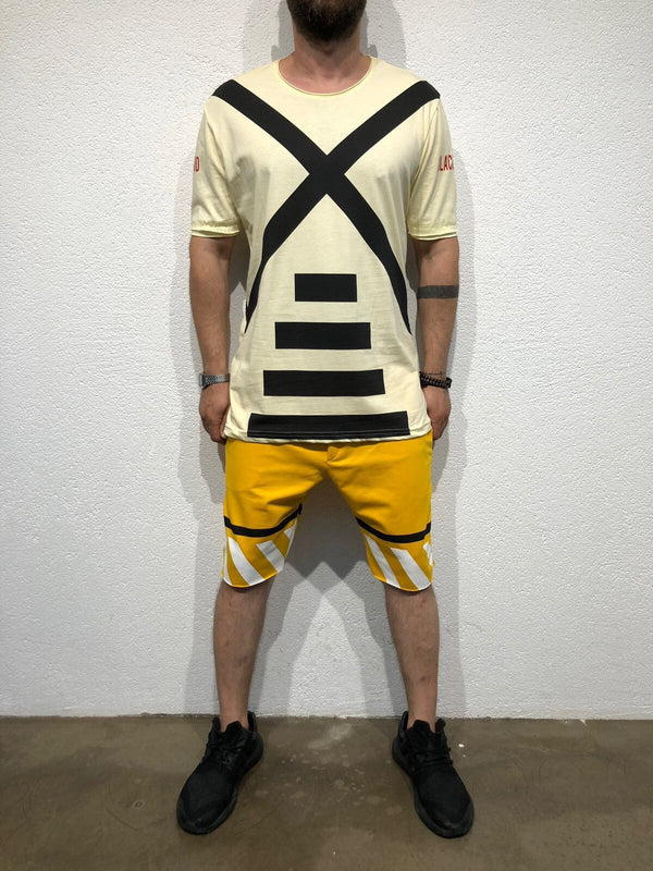 Yellow Striped Sweat Short B179 Streetwear Sweat Shorts - Sneakerjeans