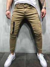 Load image into Gallery viewer, Beige Cargo Style Slim Fit Denim A47 Streetwear Denim Jeans - Sneakerjeans