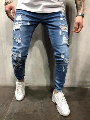 Blue Ripped Ultra Skinny Fit Jeans AY301 Streetwear Mens Jeans - Sneakerjeans