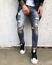 Load image into Gallery viewer, Gray Washed Side Striped Skinny Fit Denim B275 Streetwear Jeans