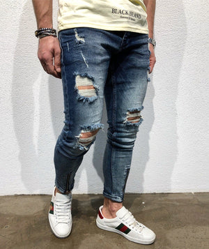 Sneakerjeans Blue Front Zipper Ripped Jeans B90 - Sneakerjeans