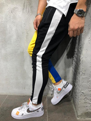 Yellow Black Colour Block Jogger Pant 3964 Streetwear Jogger Pants - Sneakerjeans