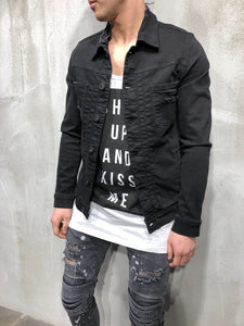 Black Denim Jacket A50 Streetwear Denim Jacket