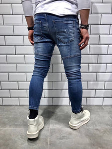 Blue Shredded Slim Fit Denim B40 Streetwear Denim Jeans