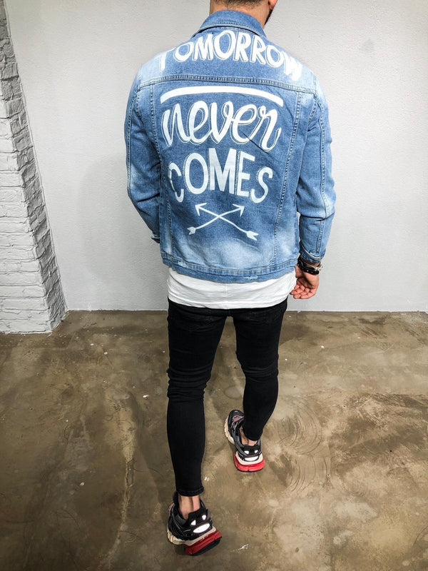 Blue Printed Denim Jacket BL241 Streetwear Denim Jacket - Sneakerjeans