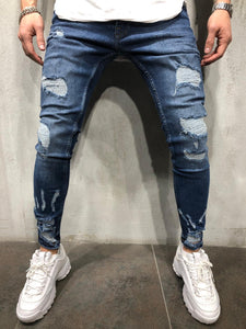 Blue Ankle Scratched Distressed Ultra Skinny Fit Denim A273 Streetwear Jeans