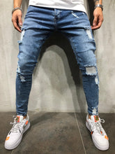 Load image into Gallery viewer, Blue Distressed Skinny Fit Denim A192 Streetwear Jeans - Sneakerjeans