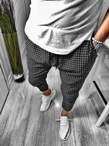 Black Checkered Baggy Jogger Pant B161 Streetwear Jogger Pants
