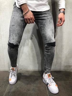 Gray Distressed Skinny Fit Denim A255 Streetwear Jeans - Sneakerjeans