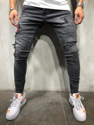 Black Rose Snake Patch Distressed Skinny Fit Denim A191 Streetwear Jeans - Sneakerjeans