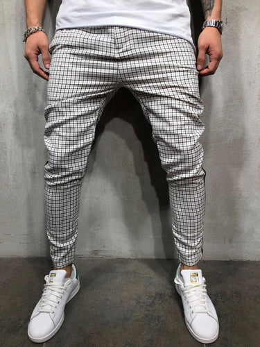 Side Striped Checkered Casual Jogger Pant A147 Streetwear Jogger Pants