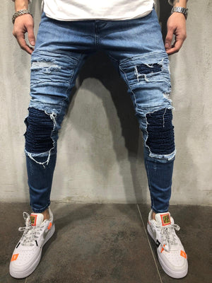 Blue Patched Distressed Skinny Fit Denim A286 Streetwear Jeans - Sneakerjeans