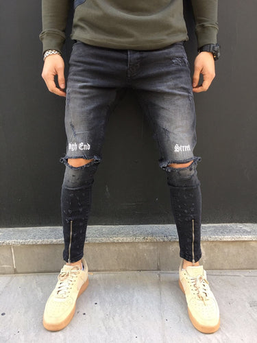 Black Printed Slim Fit Denim SJ263 Streetwear Denim Jeans