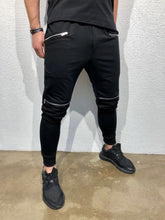 Load image into Gallery viewer, Black Knee Zipper Jogger Pant B123 Streetwear Jogger Pants