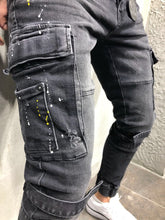Load image into Gallery viewer, Printed Cargo Pocket Jogger Denim A29 Streetwear Denim Jeans