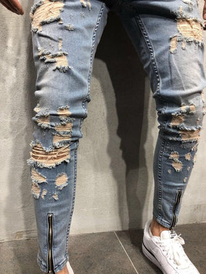 Front Zipper Blue Distressed Denim A42 Streetwear Denim Jeans - Sneakerjeans