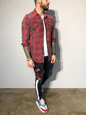 Red Checkered Oversized Shirt B351 Streetwear Shirt - Sneakerjeans