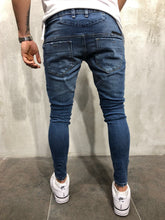 Load image into Gallery viewer, Blue Distressed Denim A39 Streetwear Denim Jeans