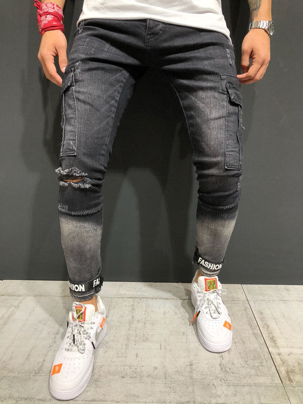 Black Destroyed Ankle Skinny Fit Denim A153 Streetwear Jeans - Sneakerjeans