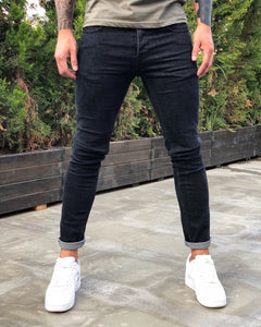 Black Skinny Fit Denim B239 Streetwear Jeans